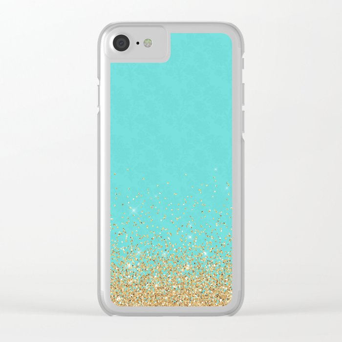 Sparkling gold glitter confetti on aqua teal damask background Clear iPhone Case