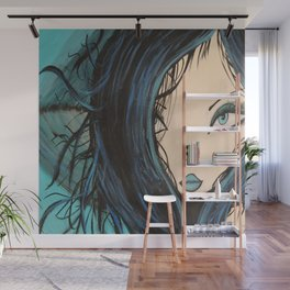 Blue and Black Hair Girl Mermaid Painting by Jodi Tomer. Figurative Abstract Pop Art. Wall Mural