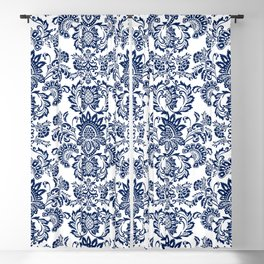 damask blue and white Blackout Curtain