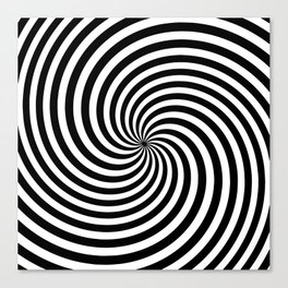 Black And White Op Art Spiral Canvas Print
