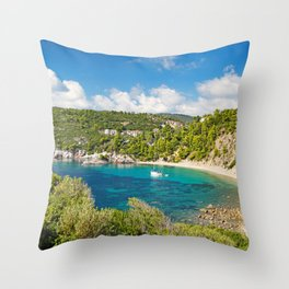 The beach Stafylos of Skopelos island, Greece Throw Pillow