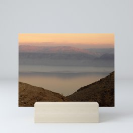 View of the Dead Sea between Mountains in Israel Mini Art Print