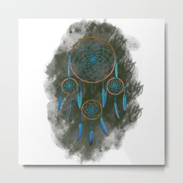 Dreamcatcher Turquoise: Green background Metal Print