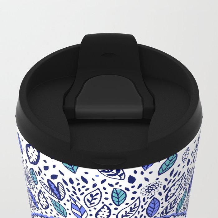 Indigo Flowered Mandala Metal Travel Mug