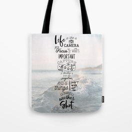 Life is Like a Camera Travel Photography Quote // Beach + Ocean Waves Background Tote Bag