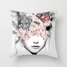 WOMAN WITH FLOWERS 10 Throw Pillow