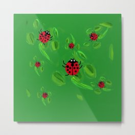 Lucky Lady Bugs of Lucky Seven Metal Print