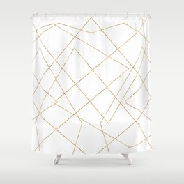 Modern Gold Geometric Strokes Abstract Design Shower Curtain