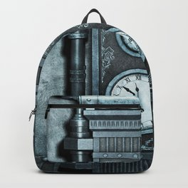 Silver Steampunk Generator Machine Backpack