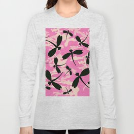 Pink Camouflage Dragonflies Long Sleeve T-shirt