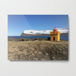 Yellow Lighthouse, Iceland Metal Print