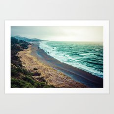 Ocean Waves - Blue Beach in California Art Print