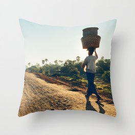 Lonely Burmese Farmer Throw Pillow