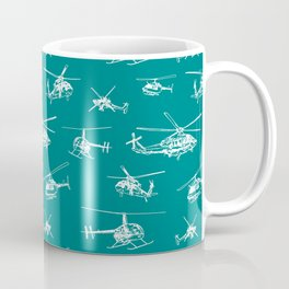 Helicopters on Teal Coffee Mug