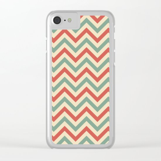 Retro zigzag pattern Clear iPhone Case