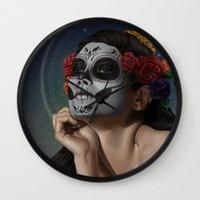 skulls Wall Clocks featuring Skulls by Joifish