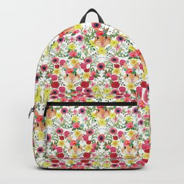 Easter rabbit with spring flowers, watercolor Backpack