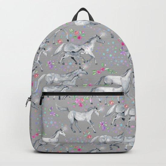 Unicorns and Stars on Soft Grey Backpack