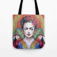 frida Tote Bags featuring Frida by alesaenzart