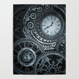 Silver Steampunk Clockwork Poster