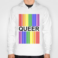 queer Hoodies featuring QUEER UPC by SLANTEDmind.com