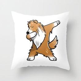 Funny Dabbing Shetland Sheepdog Dog Dab Dance Throw Pillow