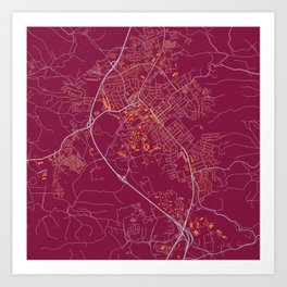 BLACKSBURG VIRGINIA COLLEGIATE MAP HANDRAWN Art Print