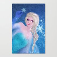frozen elsa Canvas Prints featuring Elsa Frozen by sazrella illustration