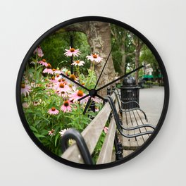 City Bench Flowers Wall Clock