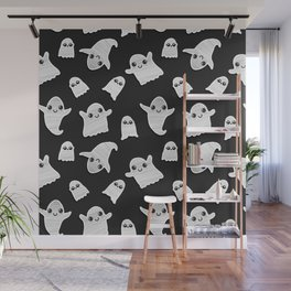 Black and White Hand Painted Kawaii Ghost Pattern Wall Mural