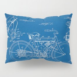 1919 W. J. Canfield Motorcycle Blueprint Patent Print Pillow Sham
