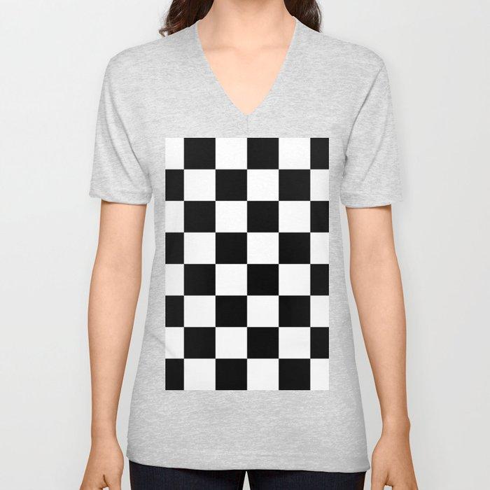 Large Checkered - White and Black Unisex V-Ausschnitt