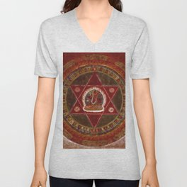 Vajrayogini stands in the center of two crossed red triangles Unisex V-Neck