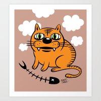 my mad fat diary Art Prints featuring FAT CAT by Alberto Corradi