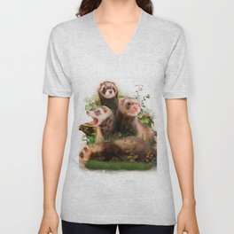 Four Ferrets in Their Wild Habitat Unisex V-Neck