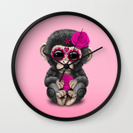 Pink Day of the Dead Sugar Skull Baby Chimp Wall Clock
