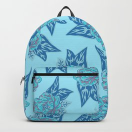 Cabbage Roses in Teal Backpack