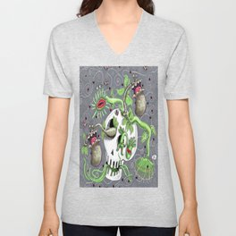 skull pot with carnivorous plants Unisex V-Neck