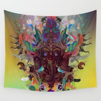 ganesh Wall Tapestries featuring Ganesha by Archan Nair