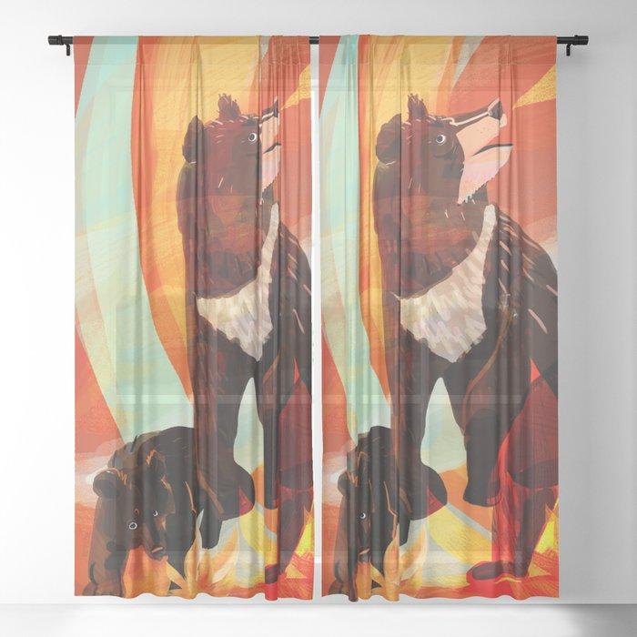Taiga on fire Sheer Curtain
