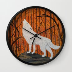 white wolf in the sunset Wall Clock