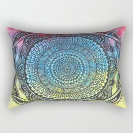 Mandala in three colours, bright and colourful Rectangular Pillow