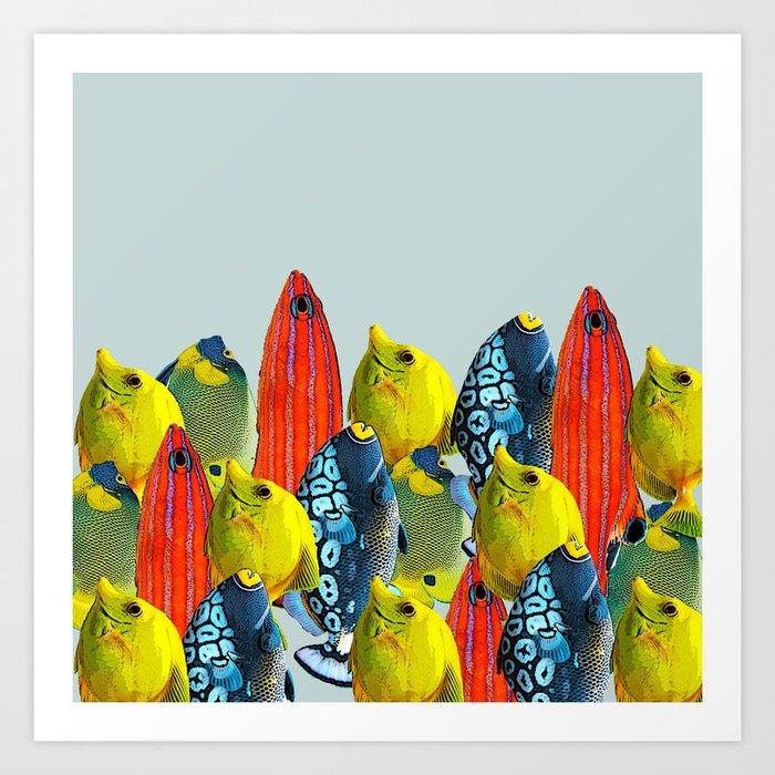 Tropical Fish Pattern Home Decor Duck Egg Blue Art Print