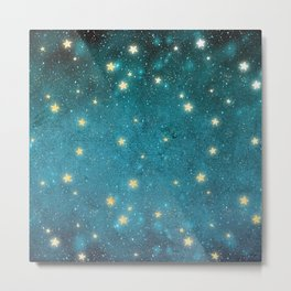 Turquoise Night Sky With Gold Stars Pattern Metal Print
