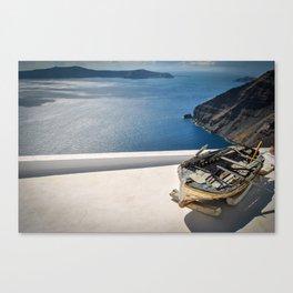 Santorini View & Wooden Boat Canvas Print