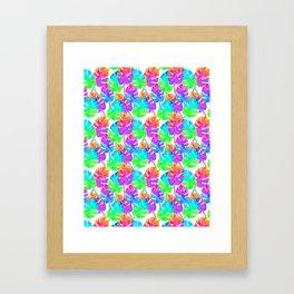 Watercolor Monstera Leaves in Neon Rainbow + White Framed Art Print