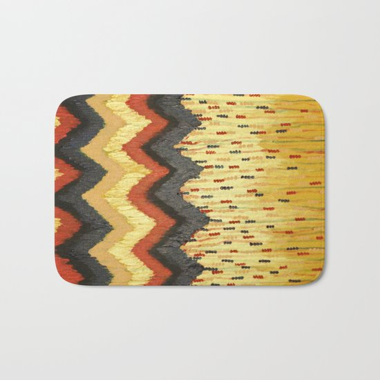 SHINE ON - Gold Glam Chevron Colorful Abstract Acrylic Pattern Painting Modern Home Decor Fine Art Bath Mat