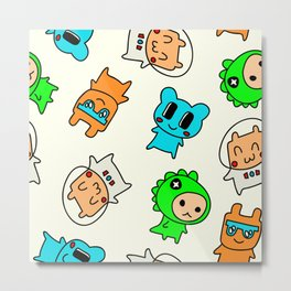 Kawaii Kumas Metal Print
