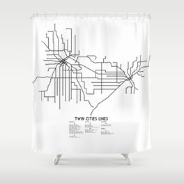 Twin Cities Lines Map Shower Curtain