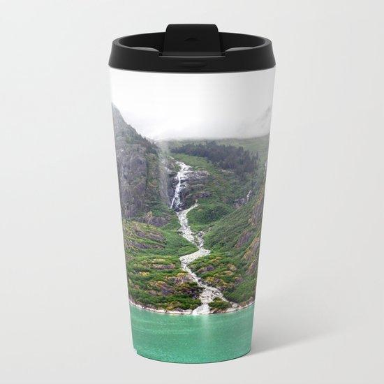 Mountainside Waterfall Metal Travel Mug